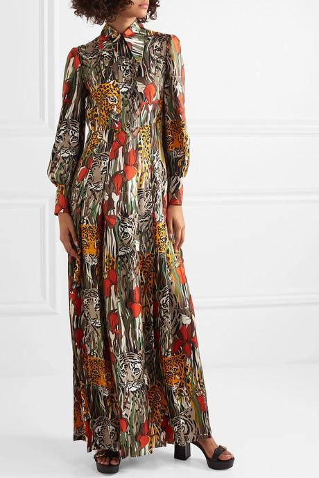 Printed silk-twill maxi dress