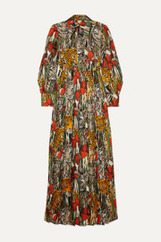 Gucci Printed silk-twill maxi dress