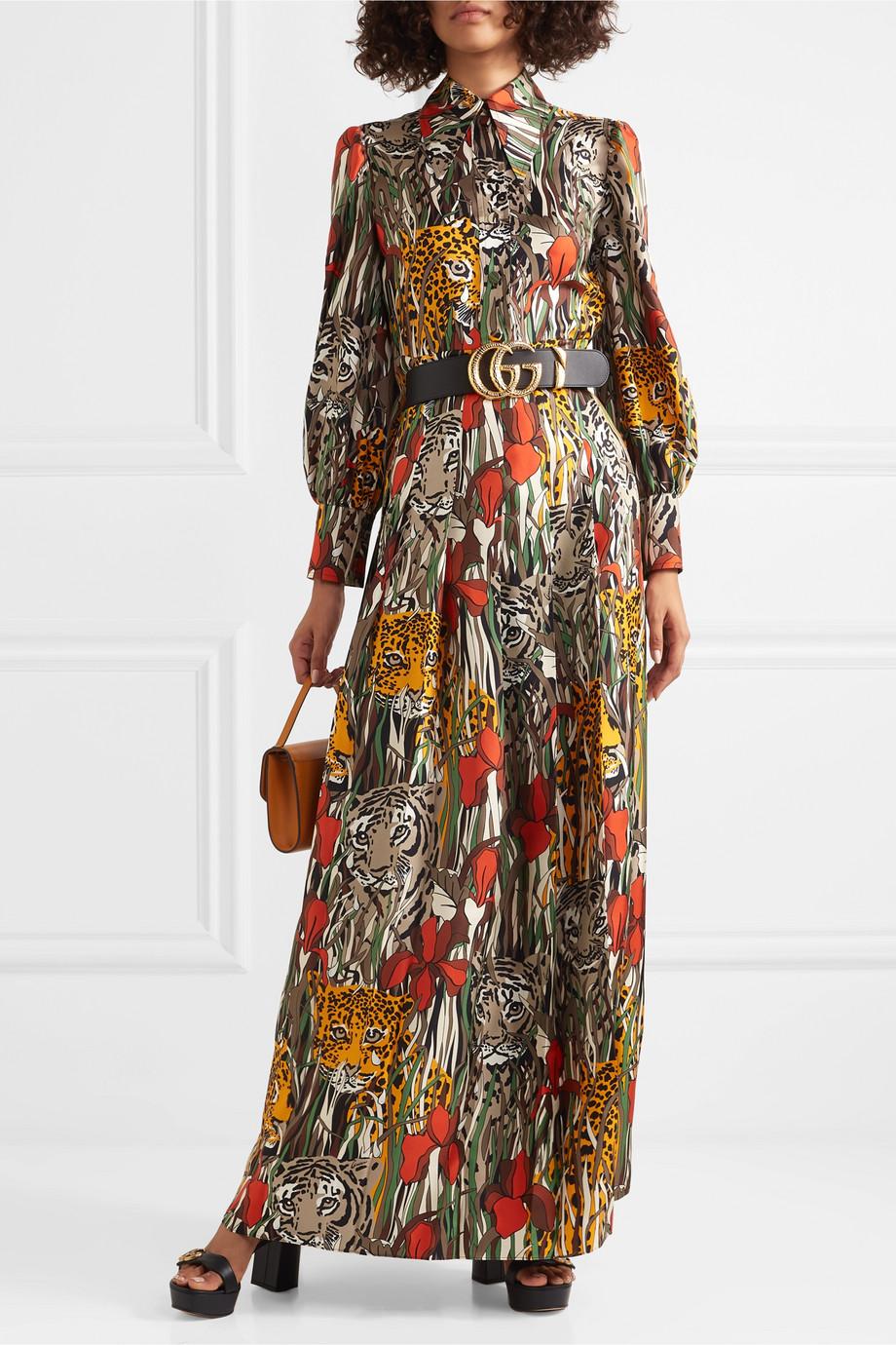 Gucci Printed silk-twill maxi dress
