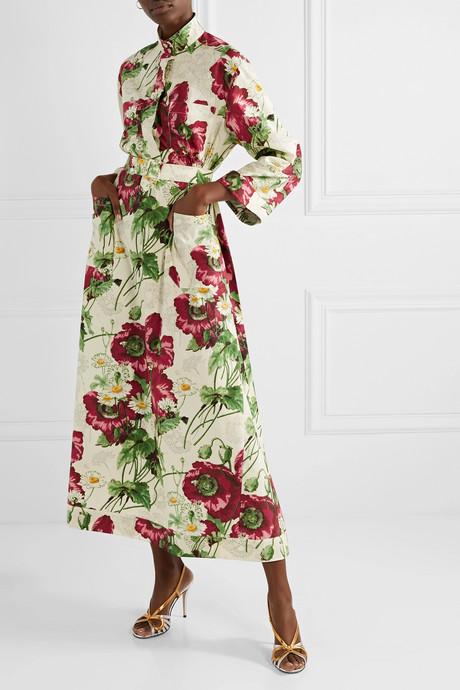 Belted floral-print cotton-poplin midi dress