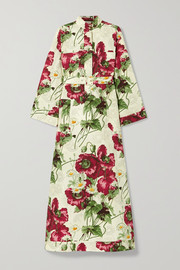 Gucci Belted floral-print cotton-poplin midi dress