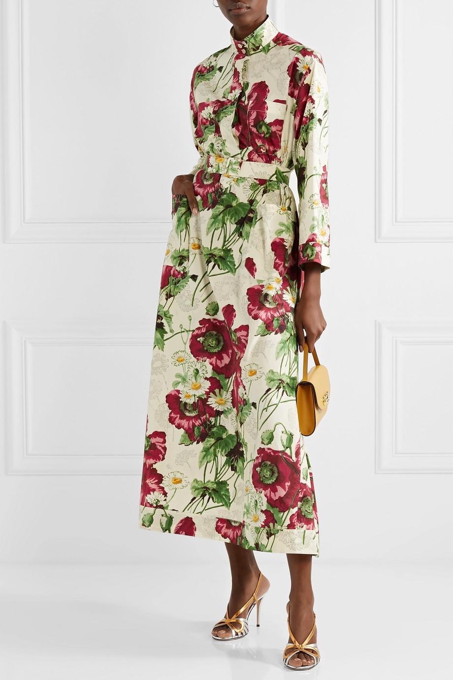 Gucci 配腰带花卉印花纯棉府绸中长连衣裙