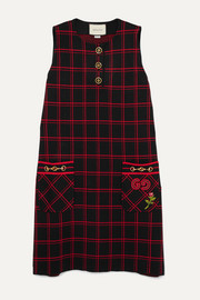 Gucci Embellished embroidered checked wool dress