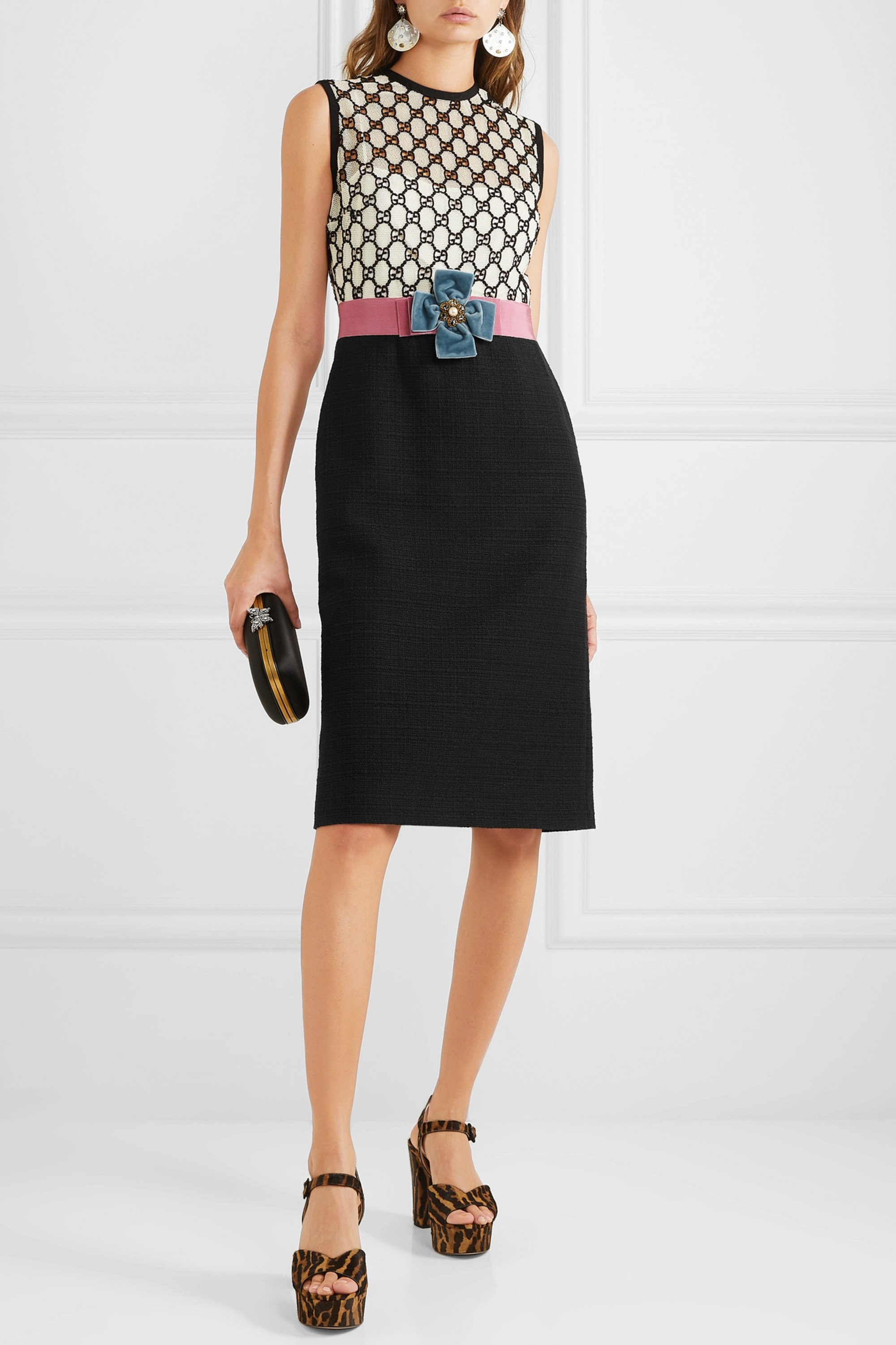 Black Embellished Lace And Crepe Dress Gucci Net A Porter