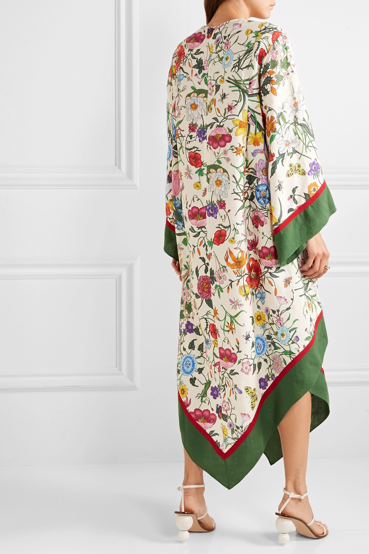 Gucci Grosgrain-trimmed paneled asymmetric floral-print linen dress