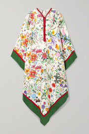 Gucci Grosgrain-trimmed paneled asymmetric floral-print linen dress