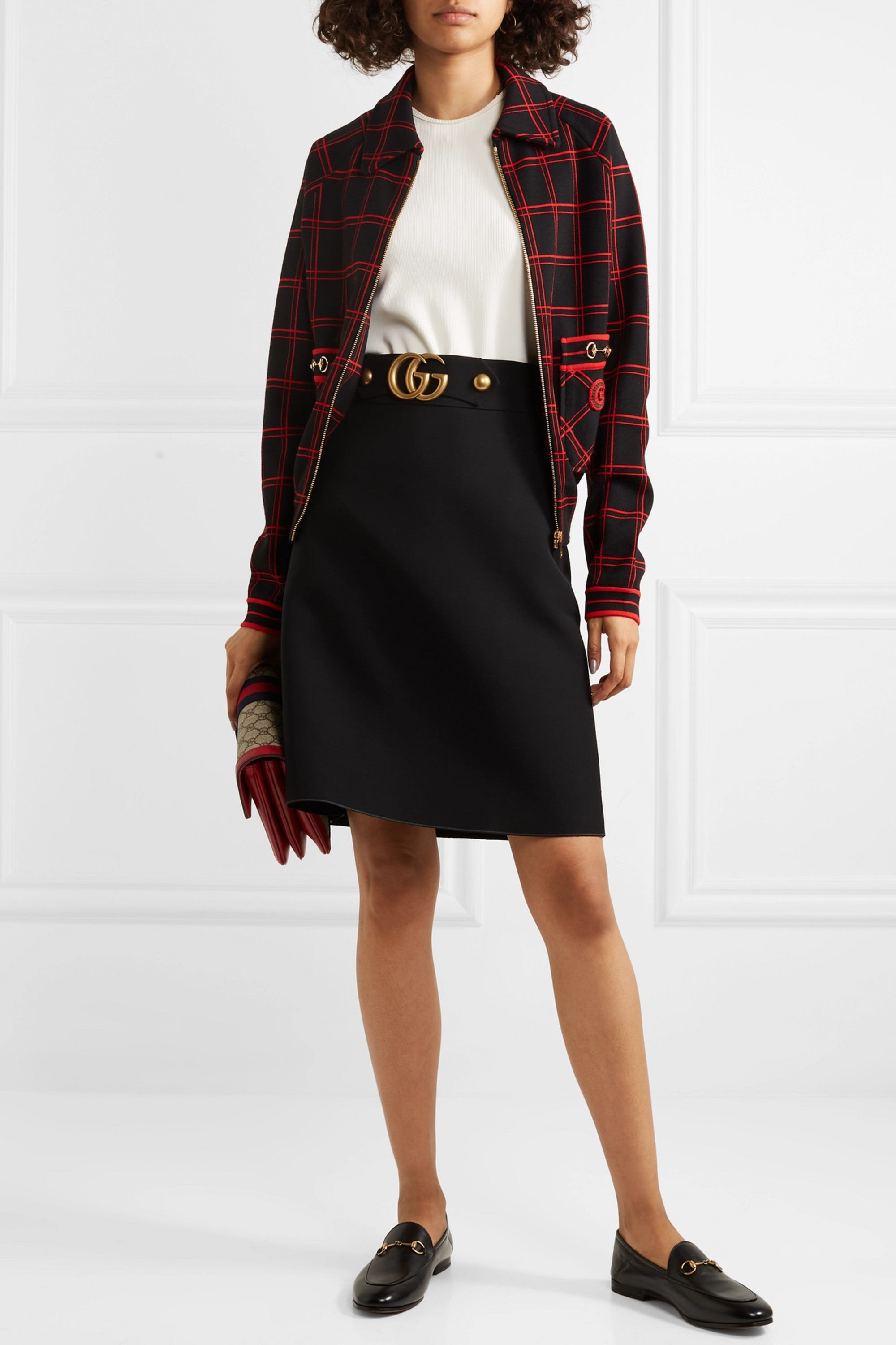 Gucci Embellished embroidered checked wool bomber jacket