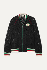 Gucci Appliquéd rib-trimmed corded lace bomber jacket