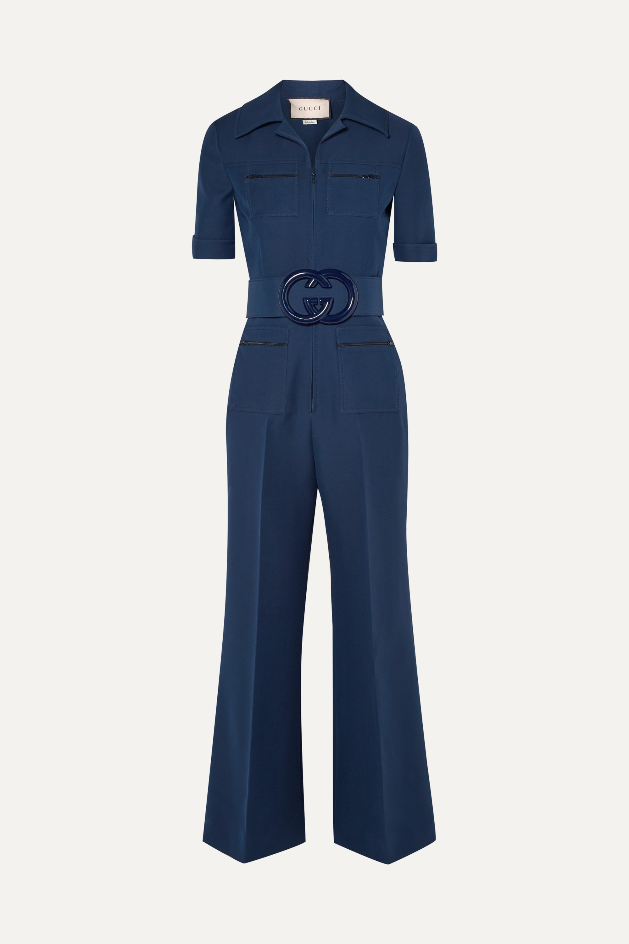 Navy belted wool and silk blend cady jumpsuit