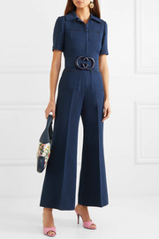 Belted wool and silk-blend cady jumpsuit