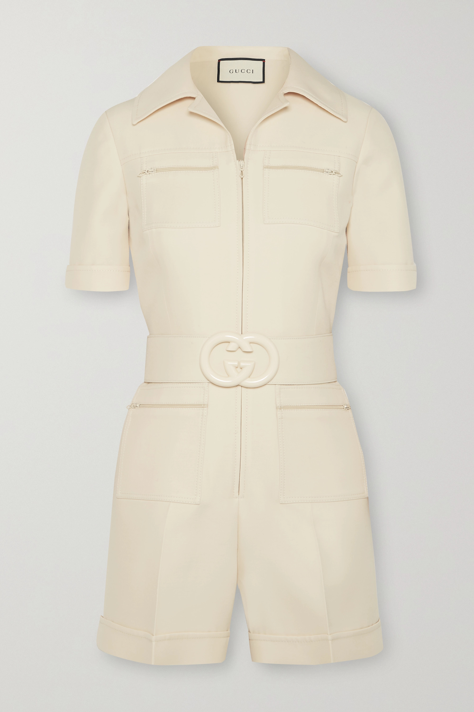 Gucci Belted wool and silk-blend cady playsuit