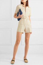 Belted wool and silk-blend cady playsuit