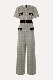 Gucci Belted velvet-trimmed Prince of Wales checked wool jumpsuit