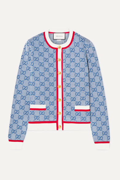 Intarsia Wool And Cotton Blend Cardigan by Gucci
