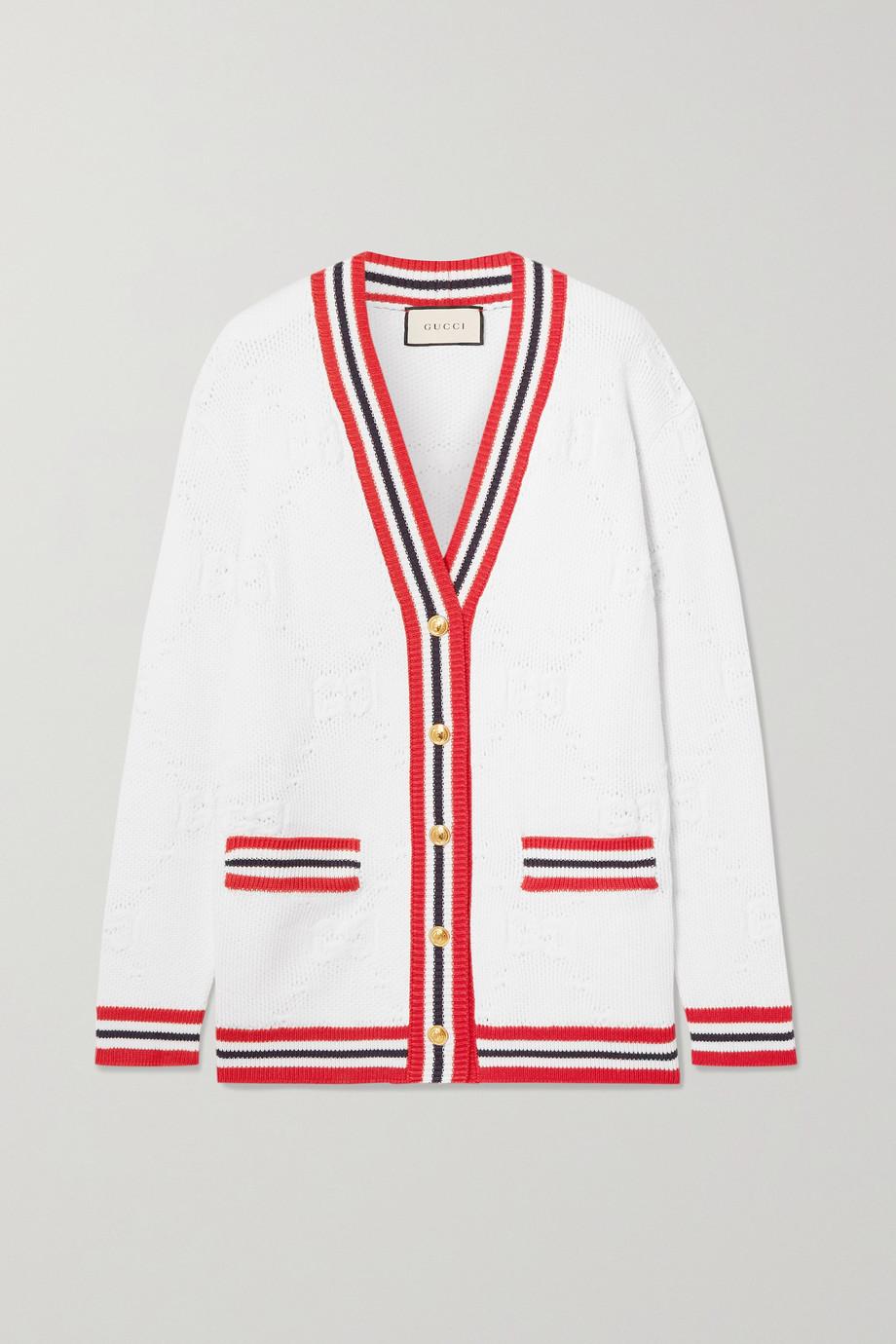 Gucci Striped wool-blend jacquard-knit cardigan