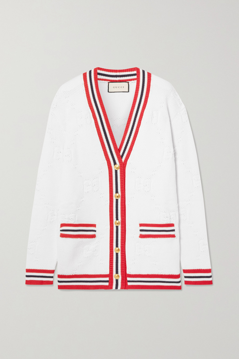 Gucci 条纹羊毛混纺提花针织开襟衫
