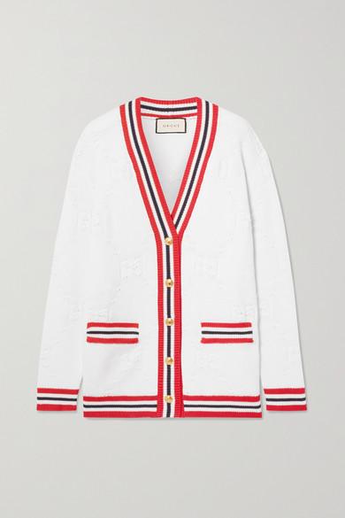 条纹羊毛混纺提花针织开襟衫 by Gucci