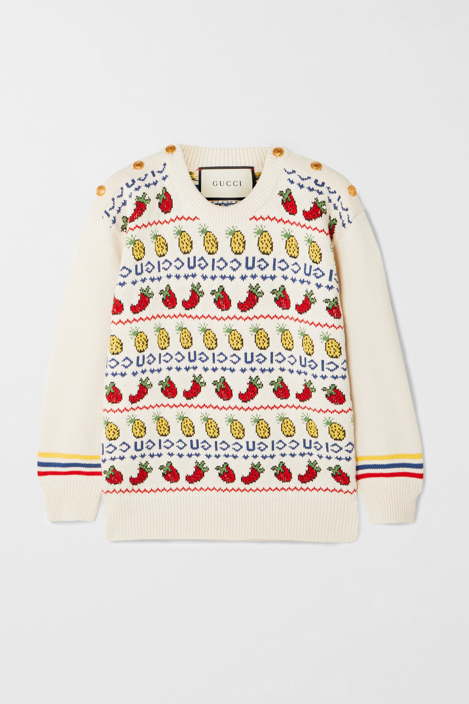 Gucci Button-detailed intarsia cotton and wool-blend sweater