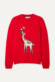 Gucci Embroidered intarsia wool sweater