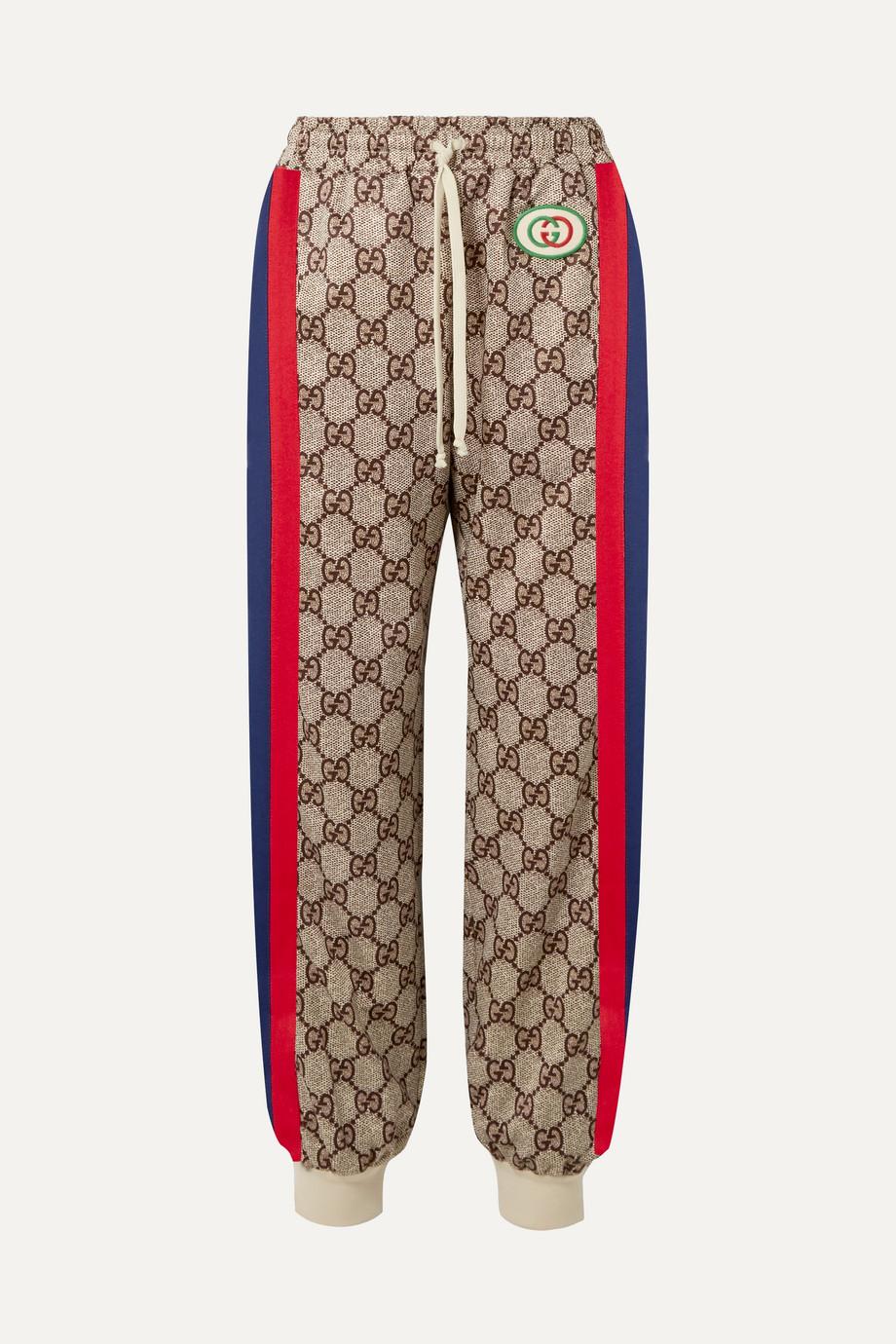 Gucci 贴花条纹印花科技平纹布休闲裤