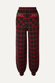 Gucci Embellished checked wool track pants