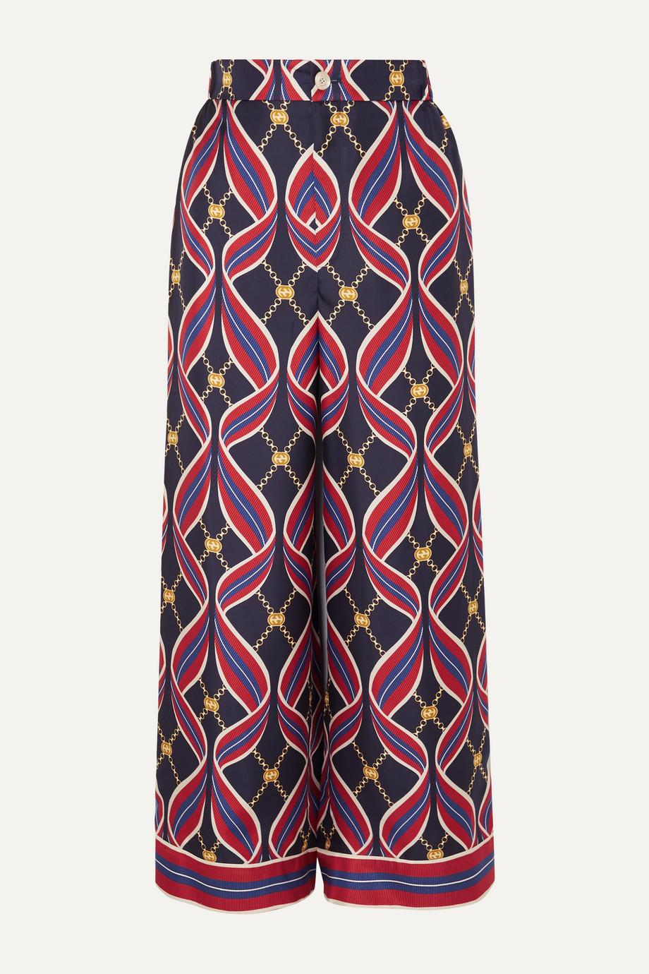Gucci Printed silk-twill wide-leg pants
