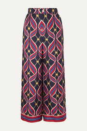 Gucci Printed silk-twill wide-leg pants