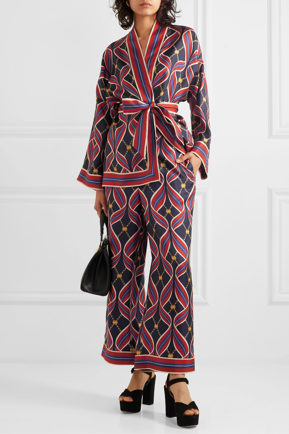 Gucci Hose mit weitem Bein aus bedrucktem Seiden-Twill