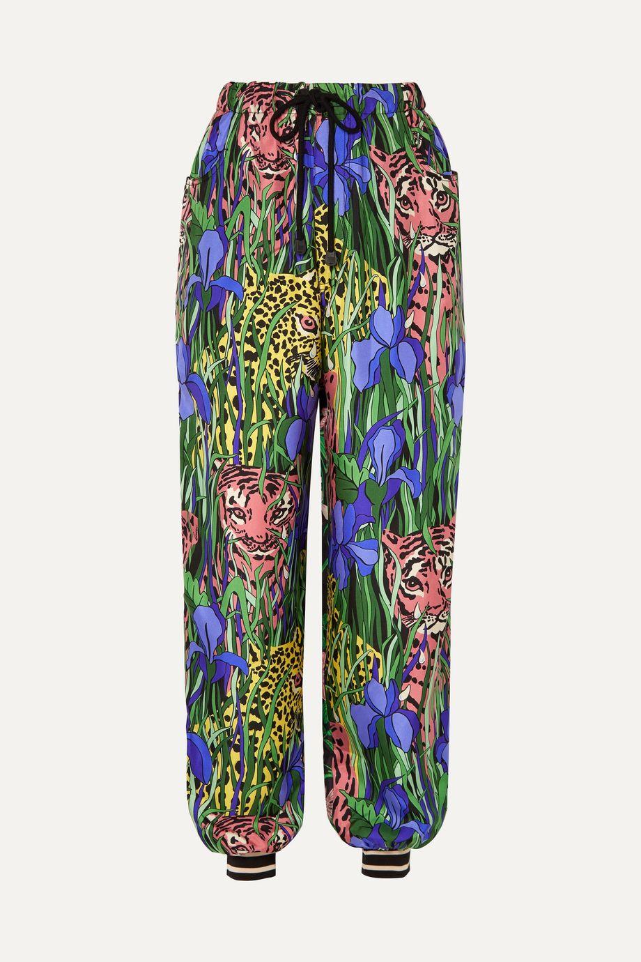 Gucci Printed silk-twill track pants