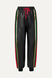 Gucci Striped jersey-trimmed leather track pants