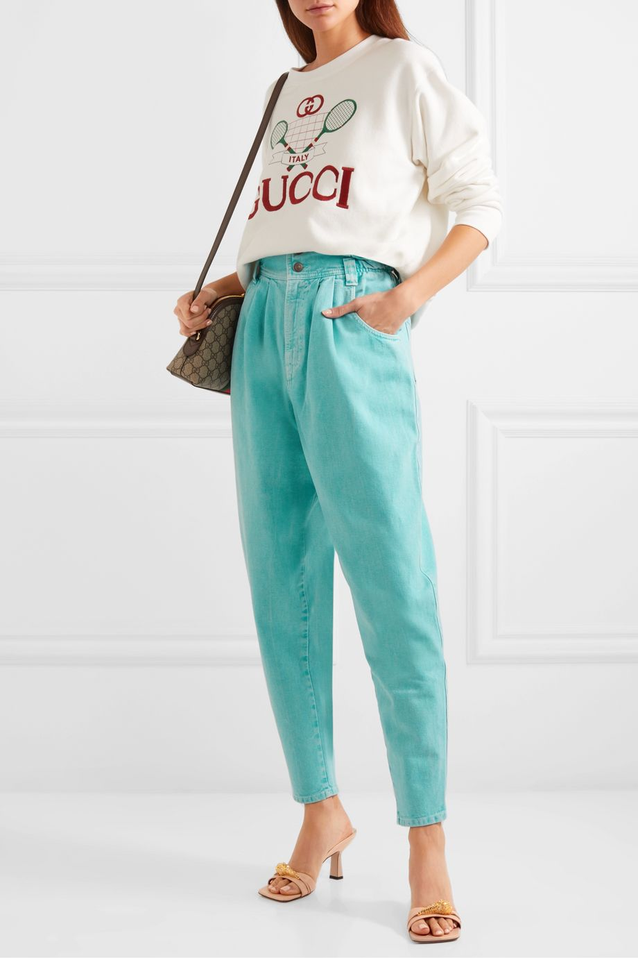 Gucci Appliquéd high-rise tapered jeans