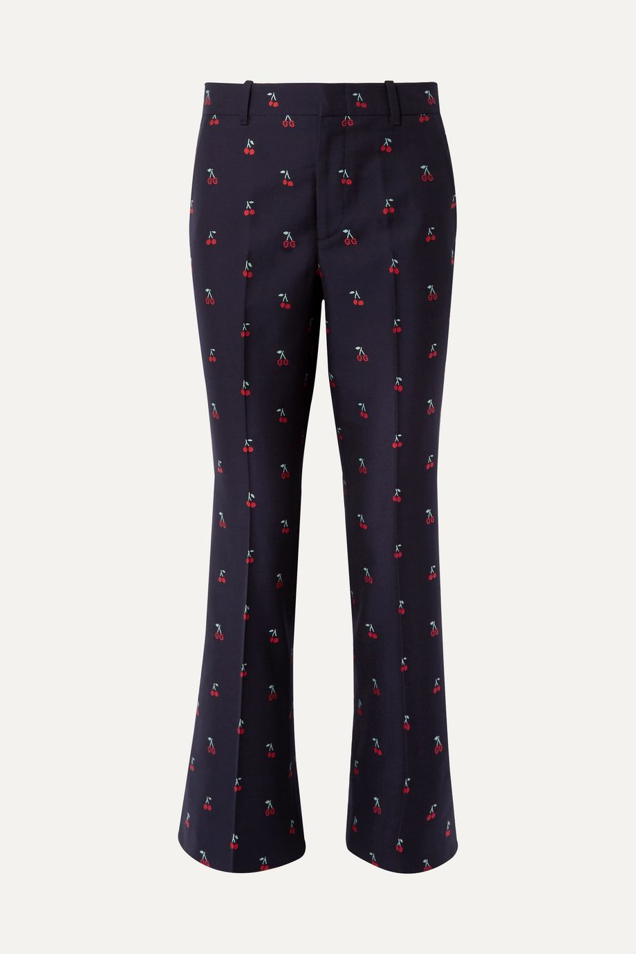 Gucci Embroidered cotton and wool-blend twill flared pants