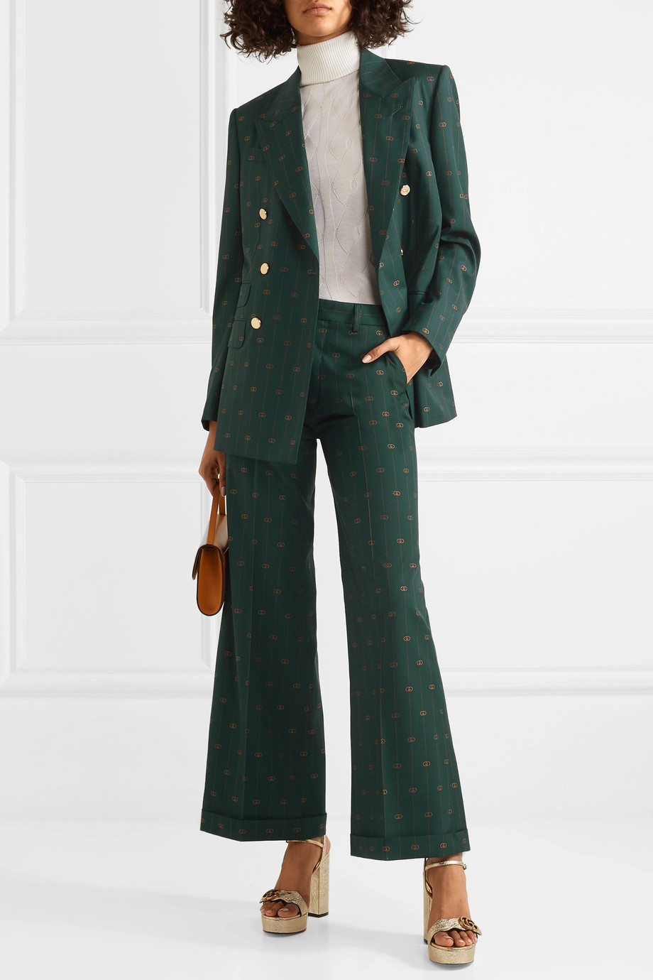Gucci Pantalon large en laine jacquard