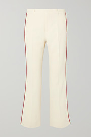 Gucci Grosgrain-trimmed cady bootcut pants