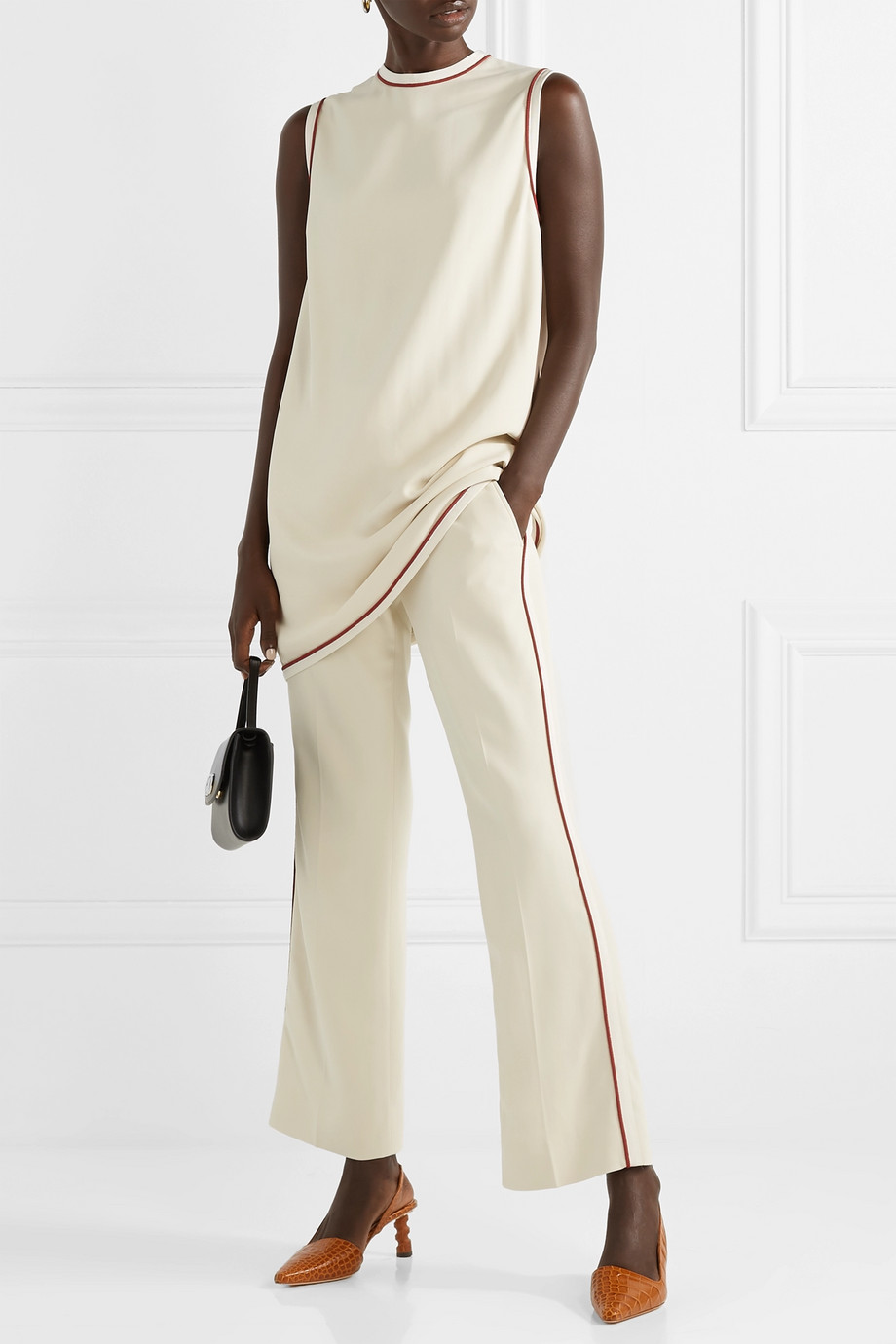 Gucci Grosgrain-trimmed cady bootcut pants
