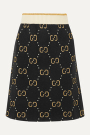 Gucci Metallic logo-intarsia wool-blend skirt