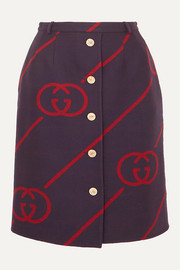Gucci Wool and silk-blend jacquard skirt