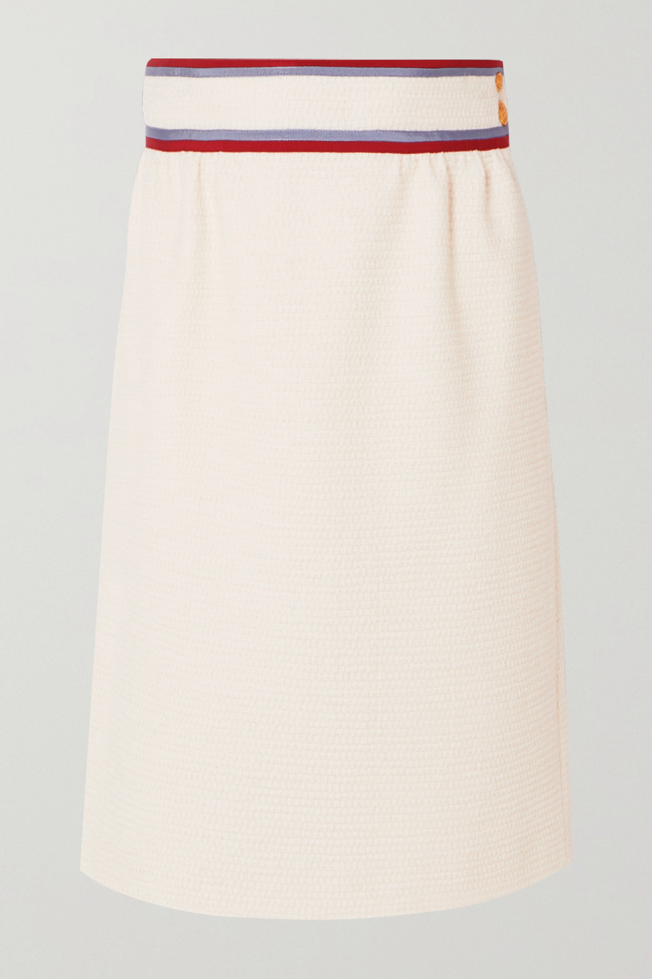 Gucci Grosgrain-trimmed wool-blend tweed skirt
