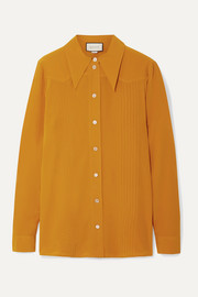 Pintucked silk crepe de chine shirt