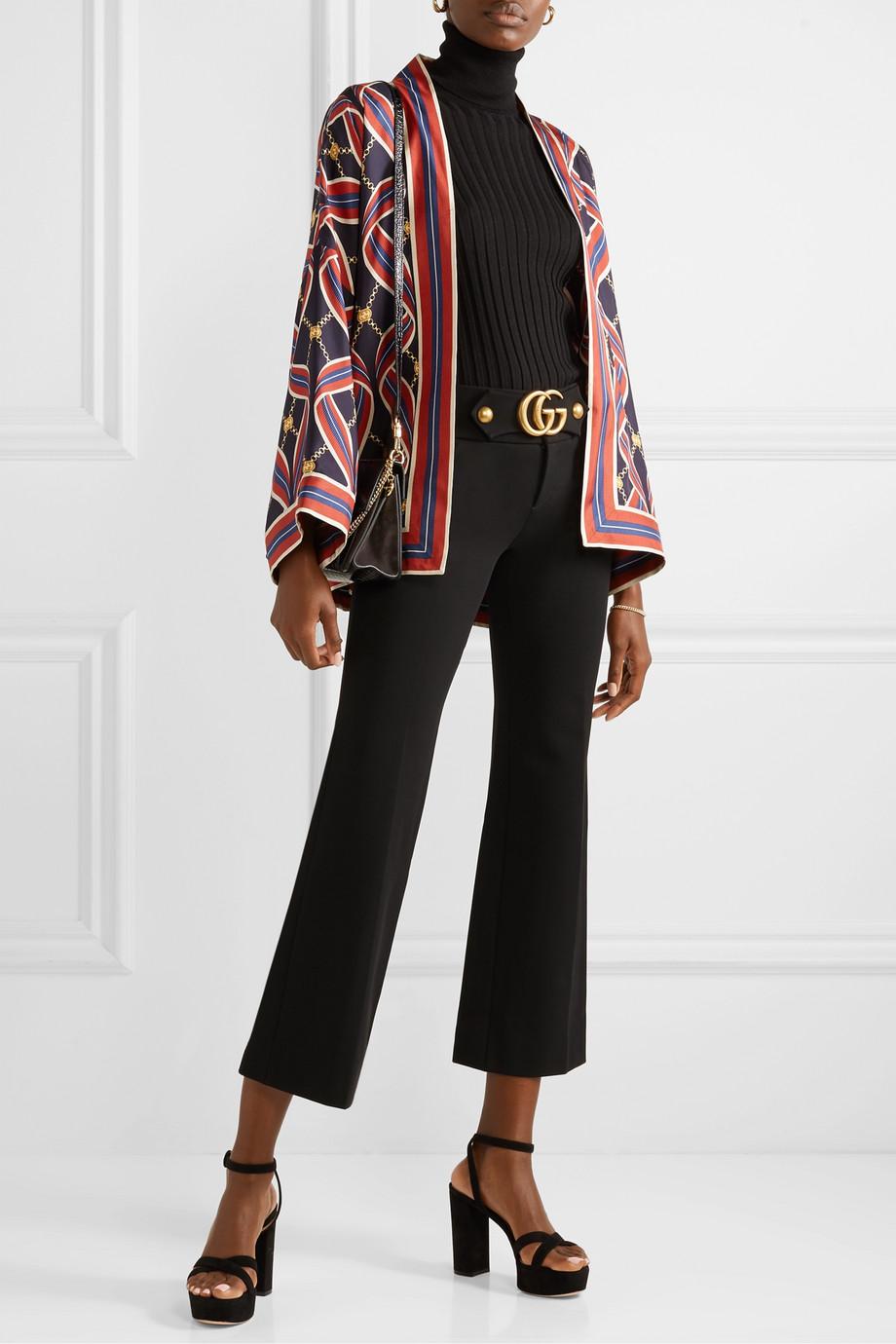 Gucci 印花真丝斜纹布和服式外套