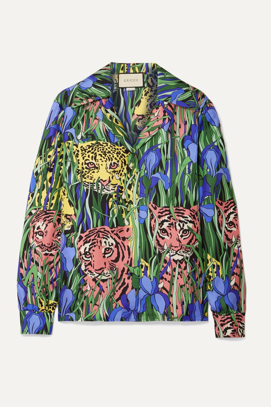 Gucci 印花真丝斜纹布衬衫