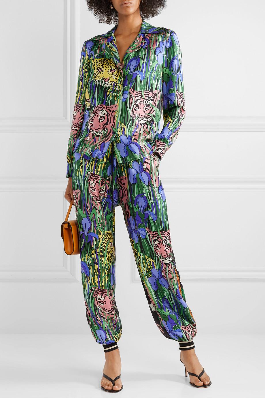 Gucci Bedrucktes Hemd aus Seiden-Twill