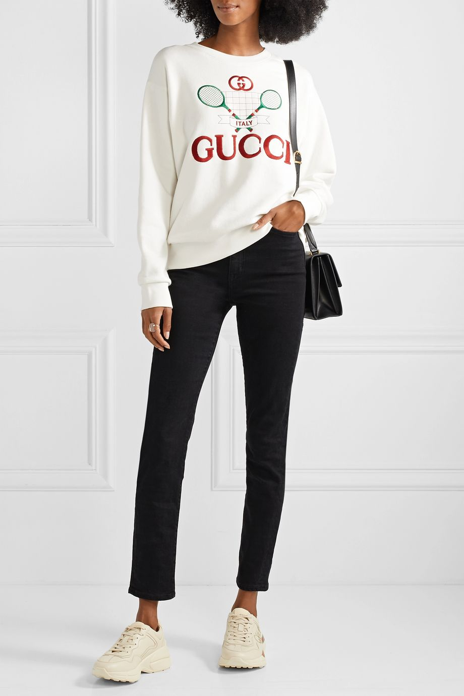 Gucci Oversized embroidered cotton-jersey sweatshirt