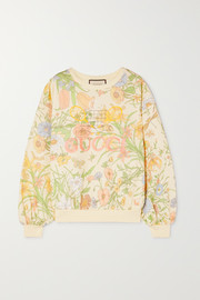 Gucci Embroidered floral-print cotton-jersey sweatshirt