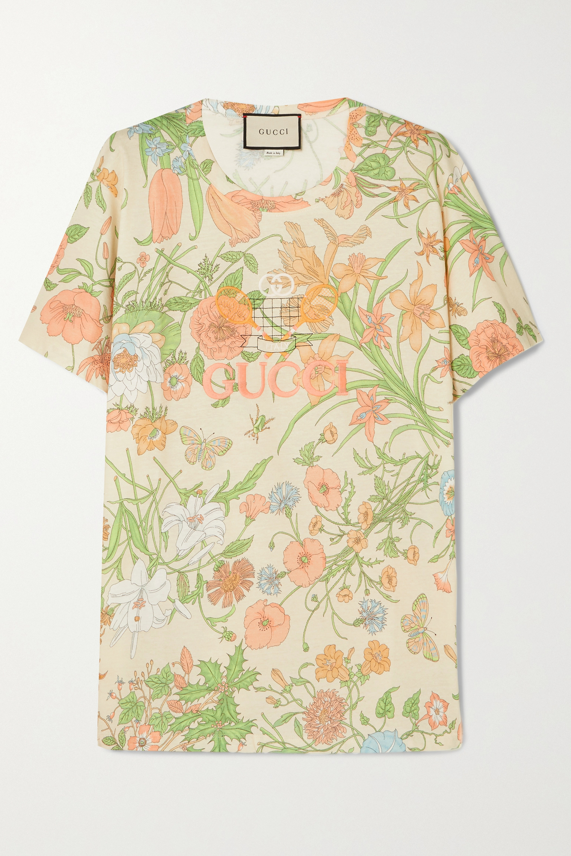 Gucci Embroidered floral-print cotton-jersey T-shirt