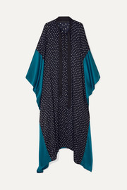 Silk satin-paneled polka-dot crepe de chine kaftan
