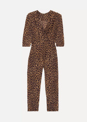 Mes Demoiselles Slash wrap-effect leopard-print voile jumpsuit