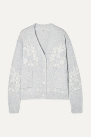 Mes Demoiselles Botanic embroidered wool-blend cardigan