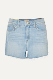 Ryland frayed stretch-denim shorts