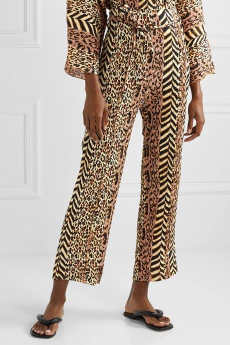 Luma paneled printed crinkled-voile straight-leg pants
